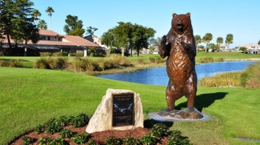 Instead, all they have is this bear statue and a plaque