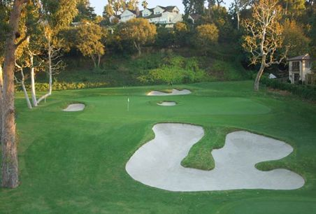 This is the best pic I could find of the hole, and really isn't that crisp or anything. But yeah, there's a bunker in the middle of the green.