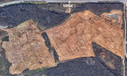 Google earth view of the property. Range and 9 hole course to the north, not pictured.